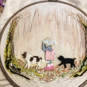 The Woodland Wife - Olly and Mills - Fabric Picture - Textile Art Wall Hanging - Fabric Banner
