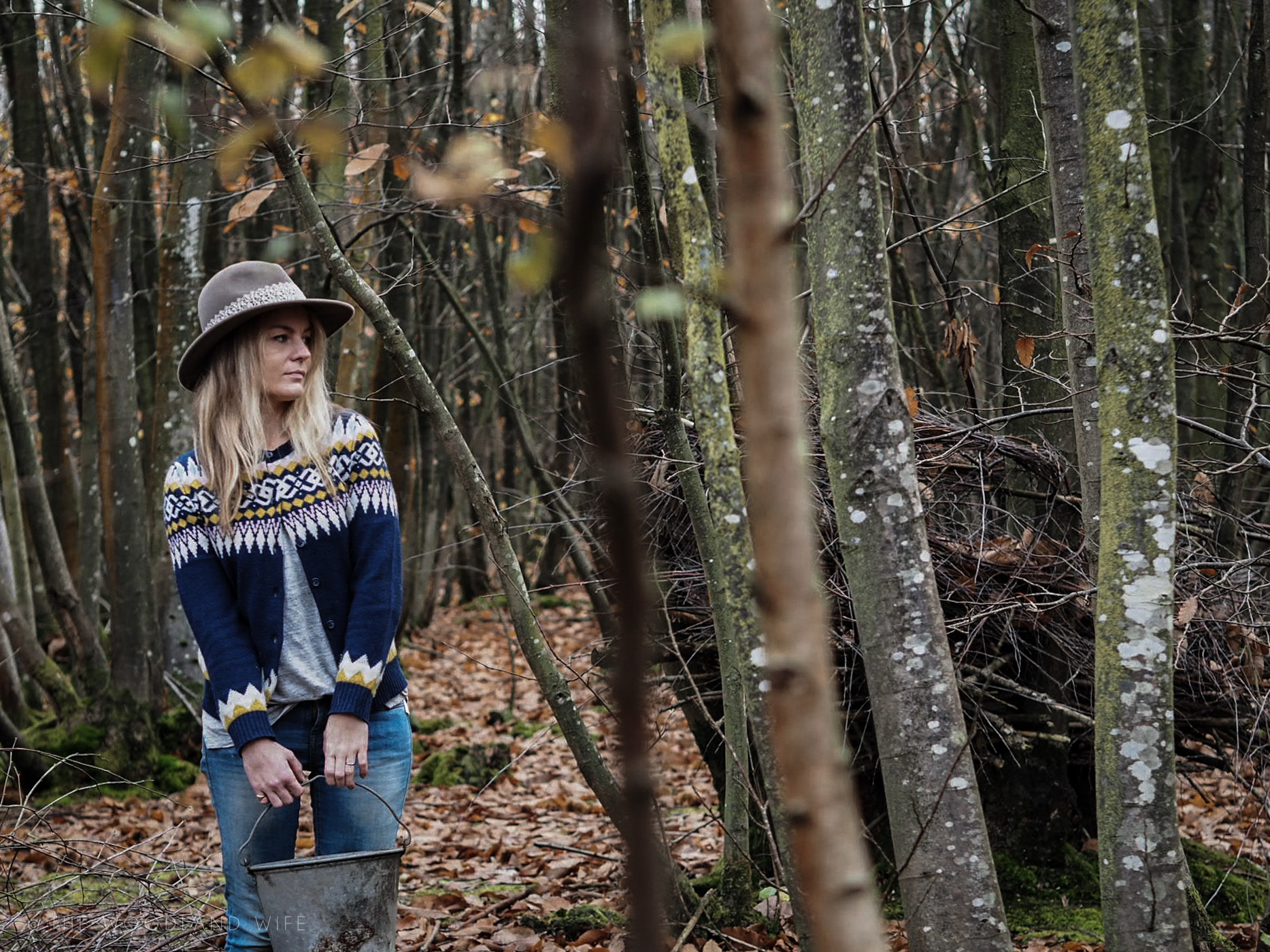 The Woodland Wife - WoolOvers - Womens Pure Wool Fairisle Cardigan in Navy - Chicken Keeping - Living in the woods - Slow Living